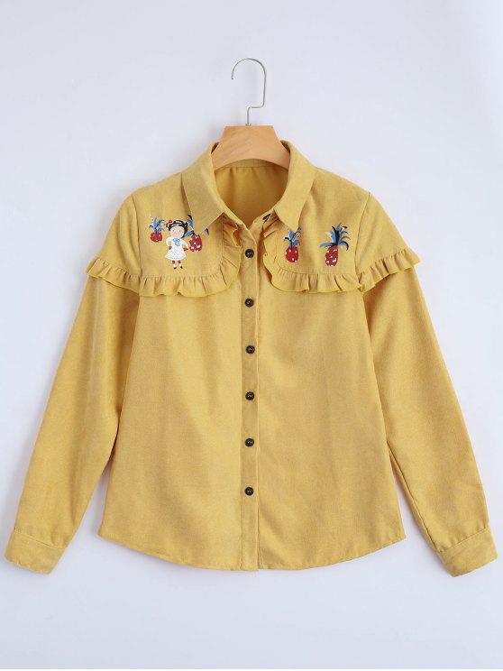 shop Button Up Printed Ruffle Hem Shirt - YELLOW S
