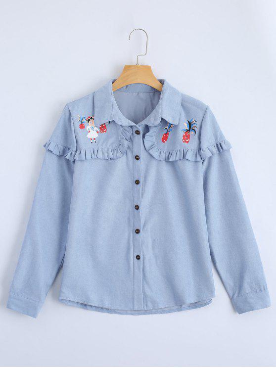 Knopf Oben Gedrucktes Rüschen Saum Shirt - Helles Blau M