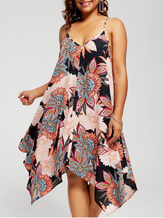 فستان الشمس الحجم الكبير طباعة الازهار الشيفون غير متماثل - أسود XL
