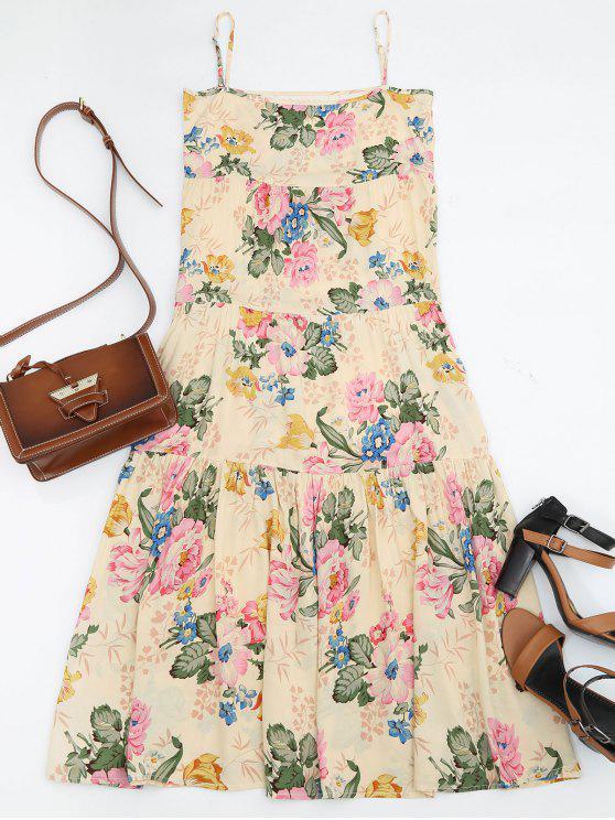 فستان مثير ميدي كشكش طباعة الأزهار - الأزهار M