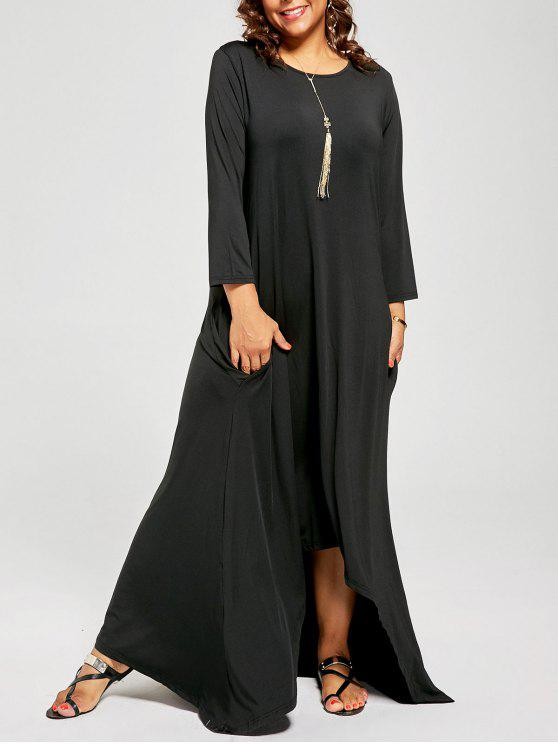 Plus Size High Low Maxi T-shirt Dress with Long Sleeves BLACK