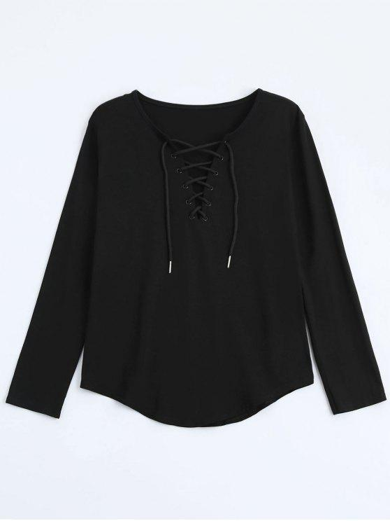 unique Lace Up Long Sleeve Plunge Tee - BLACK L
