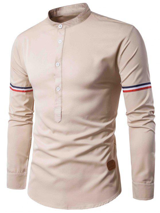 قميص الوقوف طوق الشريط جديلة مزين نصف أزرار - اللون البيج L