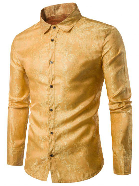 Camicia Vintage Con Maniche Lunghe - Giallo M