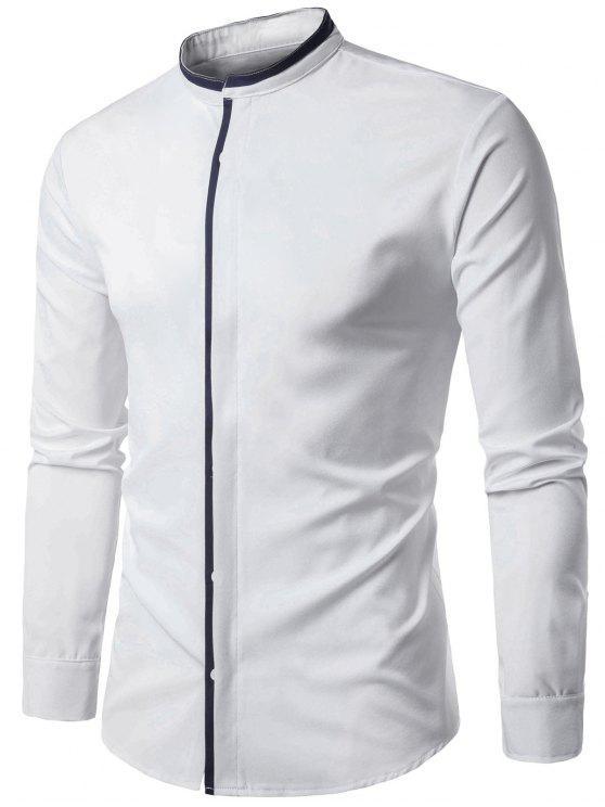 قميص الوقوف طوق اللون كتلة لوحة الغلاف بلاكيت - أبيض XL