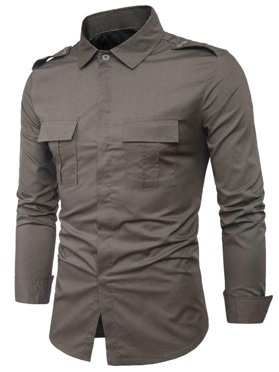 جيوب مزدوجة تصميم غطاء الكتان بلاكيت قميص البضائع - الجيش الأخضر L