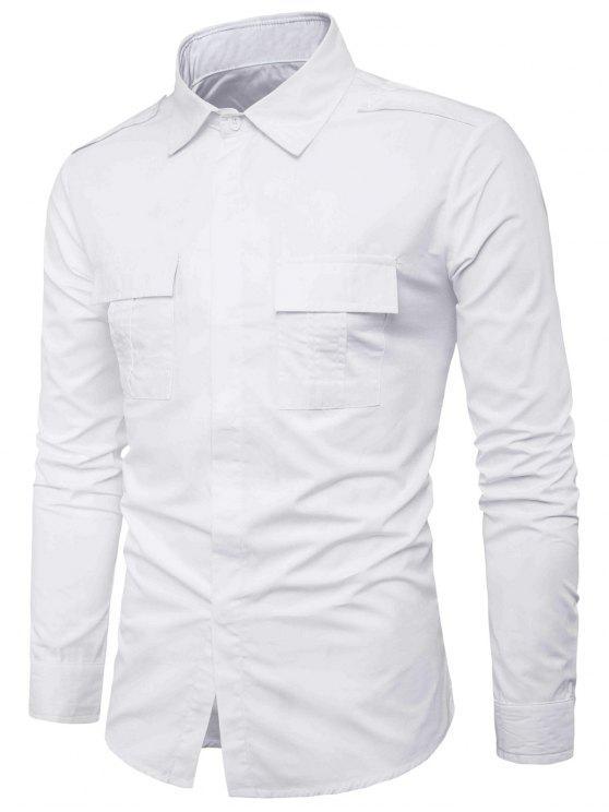 جيوب مزدوجة تصميم غطاء الكتان بلاكيت قميص البضائع - أبيض XL
