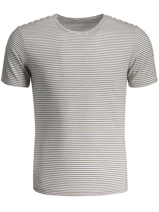 latest Mens Striped Crewneck Jersey Tee - WHITE AND GRAY XL