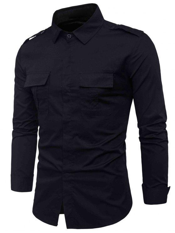 جيوب مزدوجة تصميم غطاء الكتان بلاكيت قميص البضائع - أسود L
