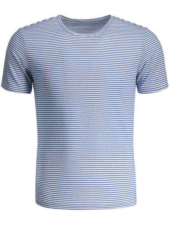 fashion Mens Striped Crewneck Jersey Tee - BLUE AND WHITE 2XL