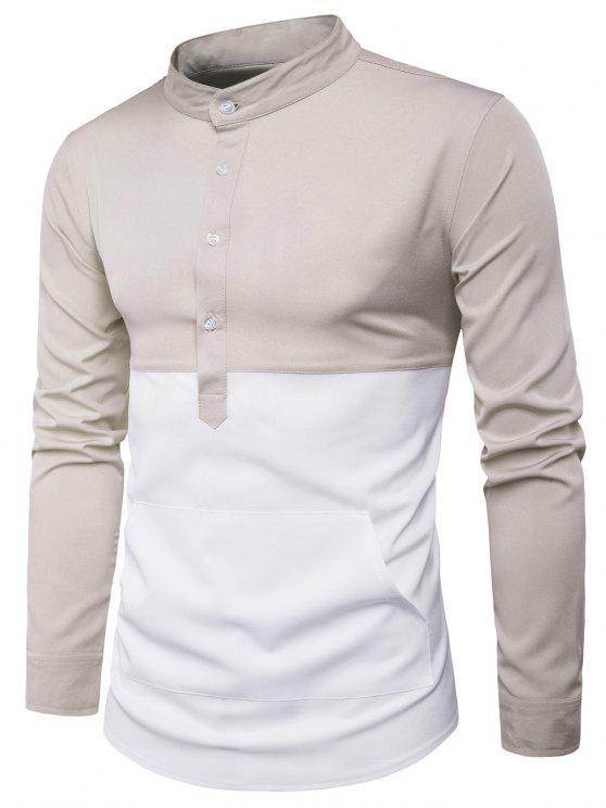 الوقوف طوق اللون كتلة لوحة الجبهة جيب قميص - اللون البيج XL