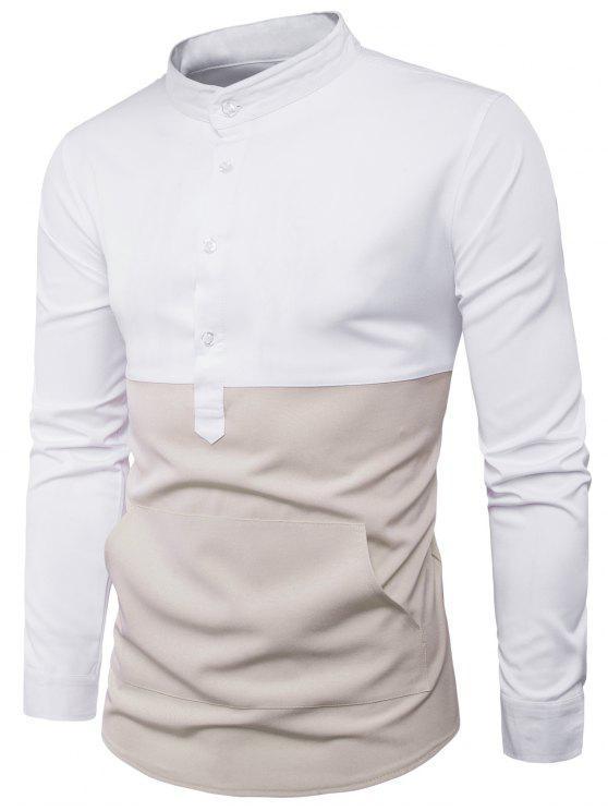 الوقوف طوق اللون كتلة لوحة الجبهة جيب قميص - أبيض L