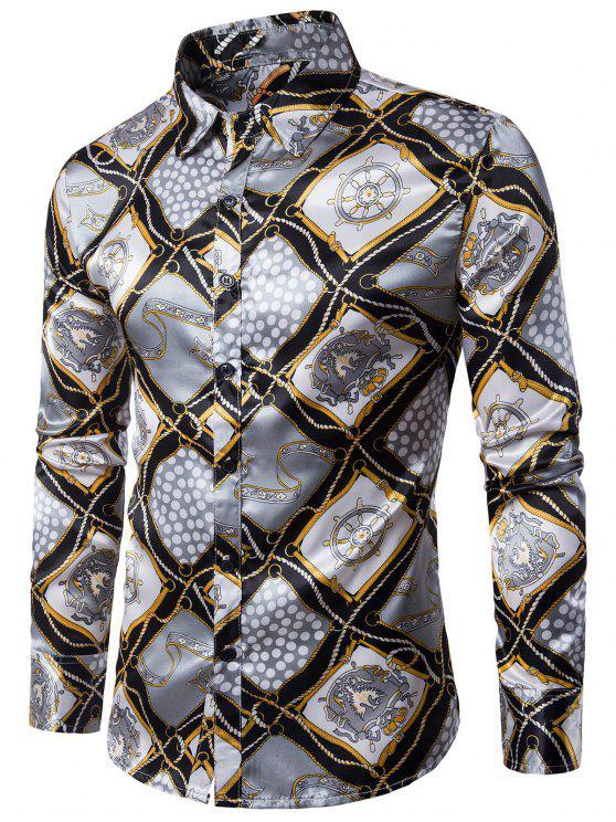 طوق طوق 3D سلسلة الدفة هندسية طباعة قميص - مزيج ملون 2XL