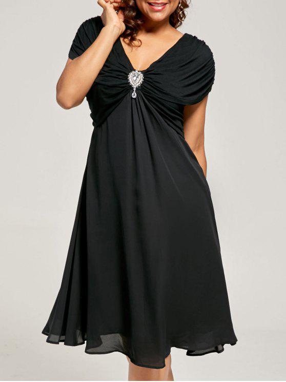 Plus Size Ruched Cap Sleeve Chiffon Dress Black Plus Size Dresses