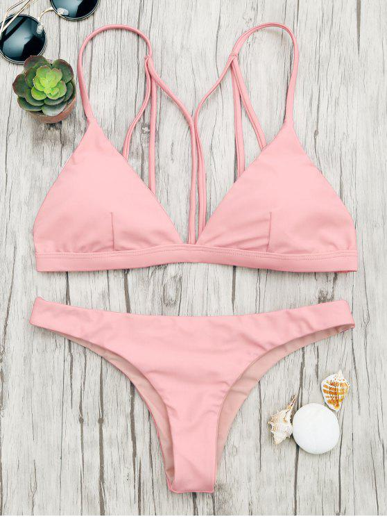 hot Padded Back Strappy Bathing Suit - SHALLOW PINK L