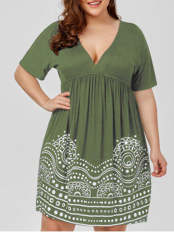 Low Cut Empire Waist Plus Size A Line Dress ARMY GREEN WHITE AND BLACK