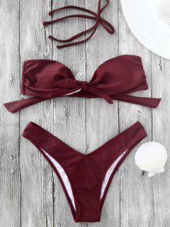 Bikini Bandeau à Coupe Haute à Noeud Papillon - Bourgogne S