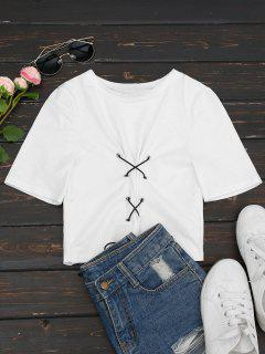 Cotton Lace Up Cropped Top - White S