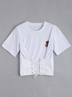 El Remiendo Floral Ata Para Arriba La Camiseta - Blanco L