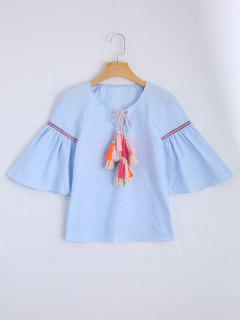 Blusa Suelta De Borlas De Cuerda - Azul Claro M