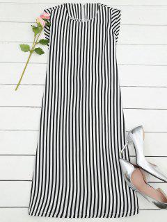Stripes Lace Up A Line Midi Dress - Stripe M