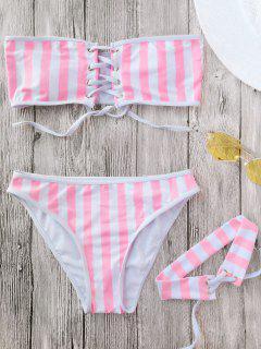 Lace Up Striped Strapless Bikini With Choker - Stripe L