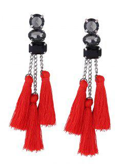 Rhinestone Tassel Chain Earrings - Red