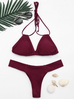 Back Tied Halter Padded Thong Bikini - Burgundy S
