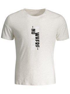 T-shirt Graphique Slogan Col Rond - Gris Clair Xl