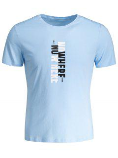 Mens Crewneck Slogan Graphic Tee - Light Blue Xl