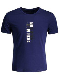 Mens Crewneck Slogan Graphic Tee - Deep Blue 2xl