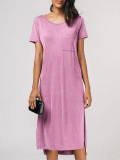 Side Slit Short Sleeve Pocket Tee Dress - Pink L