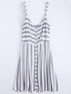 Button Up Stripes Casual Dress - Stripe M