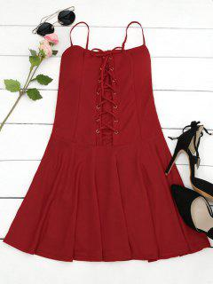 Padded Lace Up Mini Dress - Red