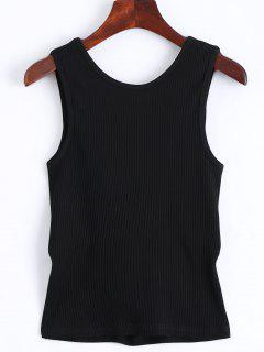 Twist Ribbed Cut Out Tank Top - Black M