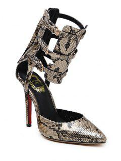 Buckle Straps Tassels Snake Print Pumps - Golden 38