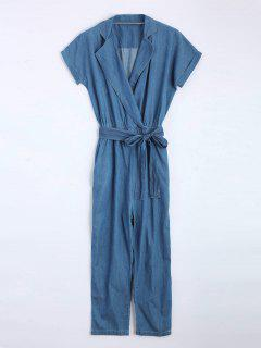 Belted Straight Denim Jumpsuit - Denim Blue L