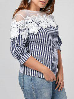Floral Applique Mesh Yoke Plus Size Top - Blue And White 4xl