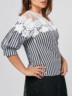 Floral Applique Mesh Yoke Plus Size Top - White And Black 4xl