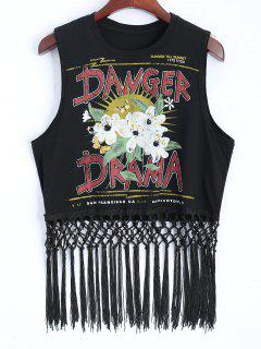 Graphic Cotton Tassels Tank Top - Black L
