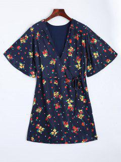 Floral Wrap Mini Dress - Purplish Blue L