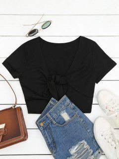 Plunging Neck Cut Out Crop Tee - Black L
