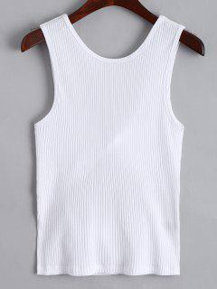 Twist Ribbed Cut Out Tank Top - White S