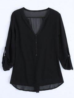 V Neck Button Embellished Blouse - Black L