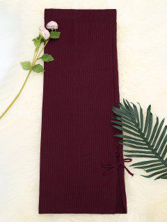 Lace Up High Waist Knitted Skirt - Wine Red