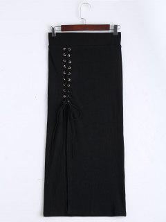 High Waist Lace Up Knitted Skirt - Black L