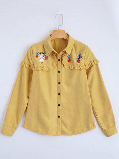 Chemise à Ourlet à Volants Imprimé Boutonné - Jaune S