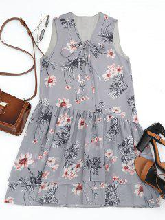 Floral Con Capas De Encaje Mini Vestido - Gris L