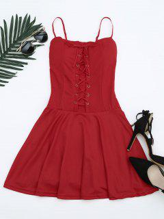 Lace Up Cami Flare Dress - Red