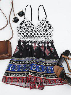 Graphic Padded Crochet Panel Romper - Black M
